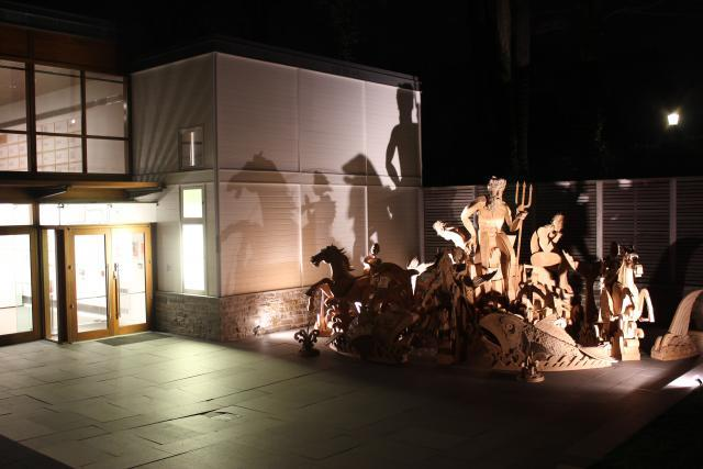 James Grashow's cardboard fountain was installed outdoors at the Aldrich Contemporary Art Museum in Ridgefield, CT on April, 2012. His goal was to observe the disintegration of the sculpture in the elements.