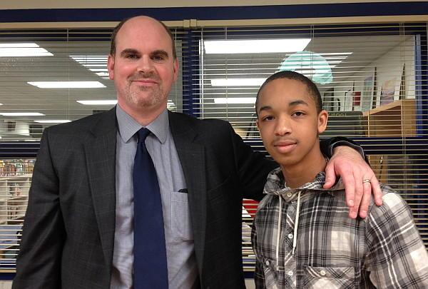Northern High School principal Matthew Hunt and senior Caleb Crawley