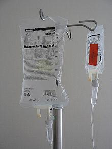 A picture of an intravenous drip bag of saline.