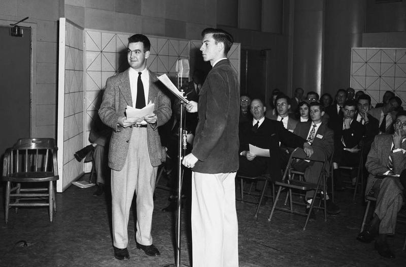 Charles Kuralt (l) and Carl Kasell at the WUNC Dedication, March 13, 1953.