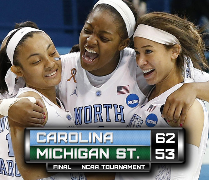 Lady TarHeels advance to sweet sixteen over Michigan St. 2014