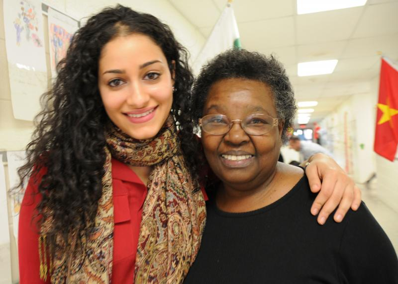 WUNC's Reema Khrais and her first-grade teacher, Lawanda Rainey-Hall.