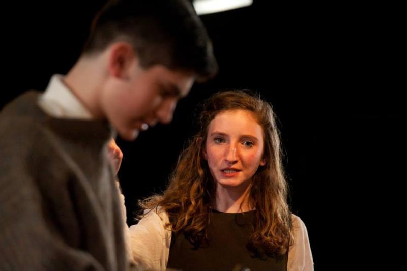 Josh Martin as Peter van Daan and Samantha Rahn as Anne Frank