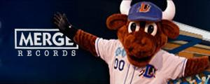 A picture of the Durham Bulls mascot with the Merge Records logo.