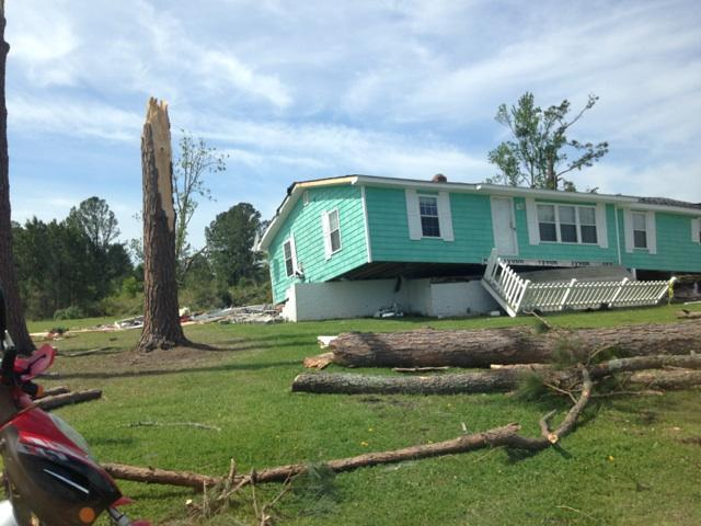 A house in Chocowinity was lifted off of its foundation by a tornado
