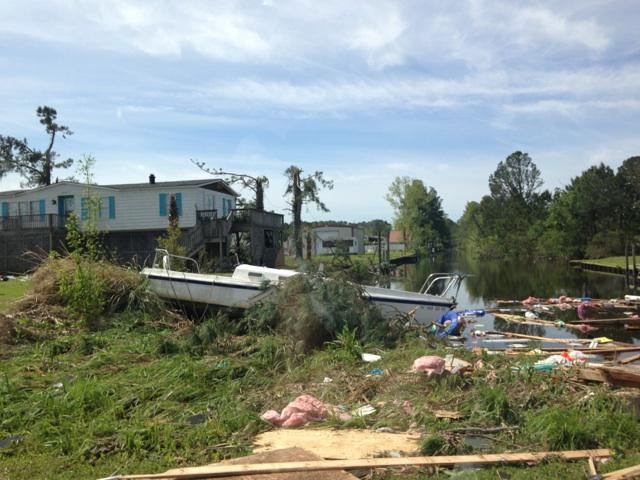 Many boats were picked up by the tornado and deposited on dry ground.