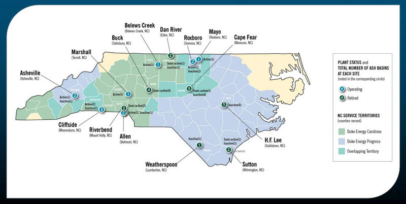 A map of Duke Energy's 14 coal ash sites and their operational status in 14 energy plants across the state.