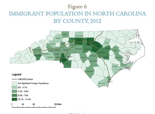 A map showing the hottest growth spots for immigrants in NC