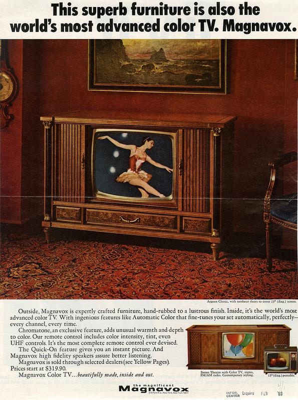 'This superb furniture is also the world's most advanced color TV. Magnavox.'