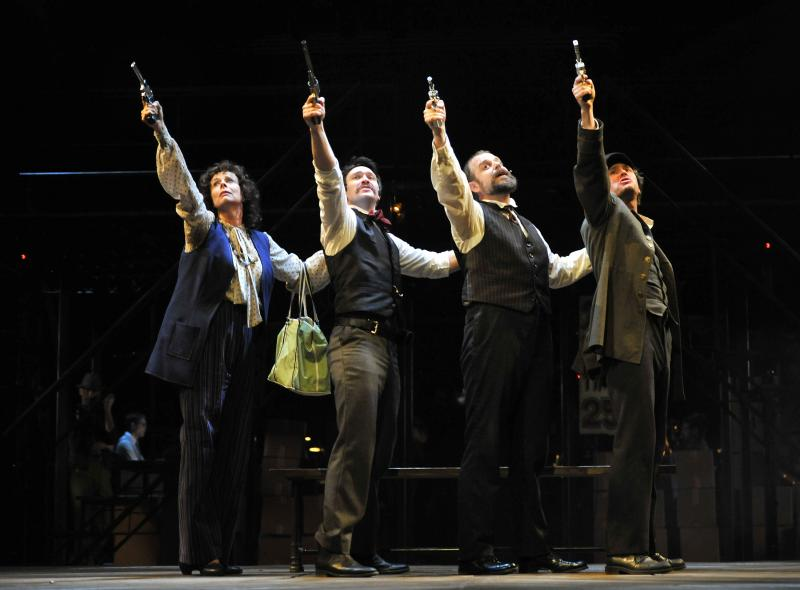 L to R: Julie Fishell as Sara Jane Moore, Danny Binstock as John Wilkes Booth, Jeffrey Meanza as Charles Guiteau and Gregory Decandia as Leon Czolgosz