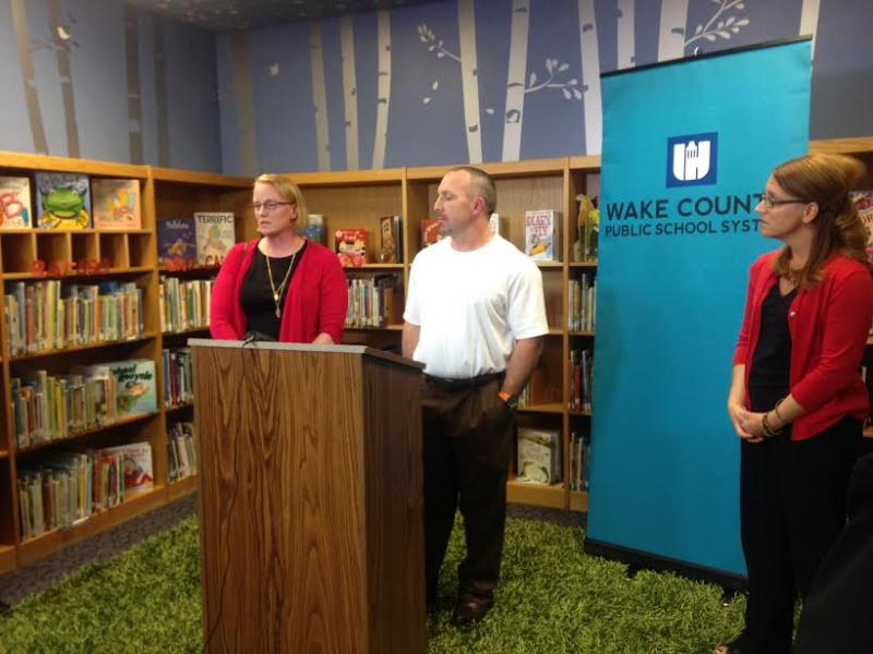 Married couple Tracy and Britt Morton, both teachers at Apex High School, explain why they are leaving their current teaching positions. They spoke at a Wake County Schools news conference Thursday.