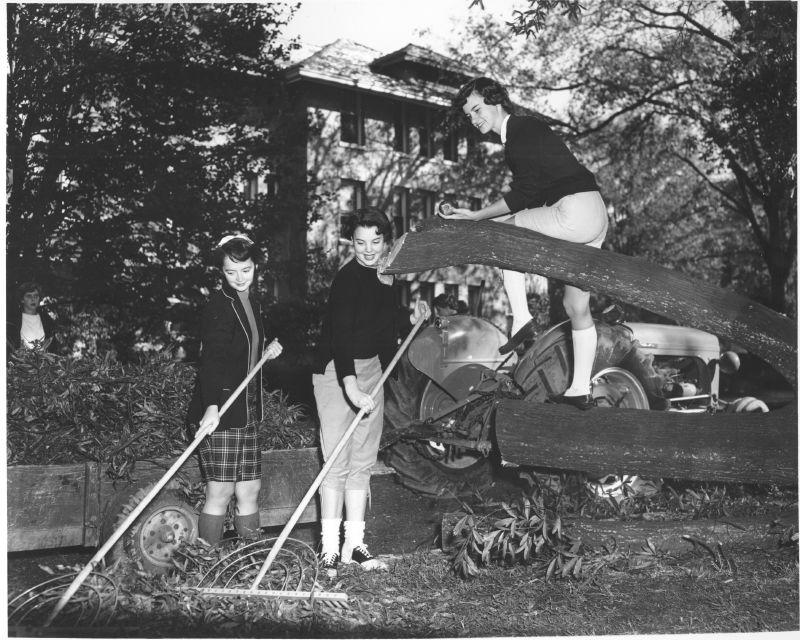Hurricane Hazel uprooted over 100 trees on campus, tore the roof off the press box at the stadium, destroyed homecoming displays, and damaged stone work on the Chapel. Campus clean-up was greatly aided by a campaign created by the women of East Campus (th