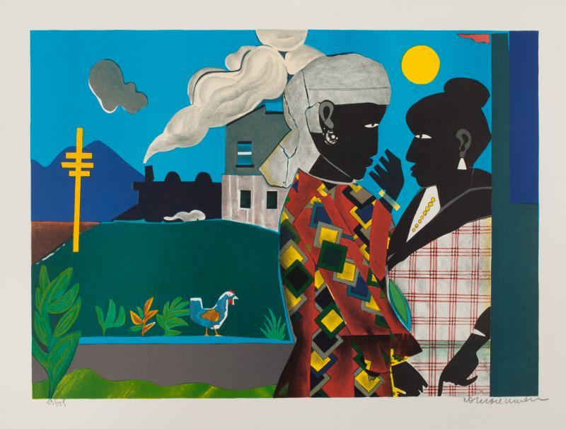Romare Bearden, Conversation, 1979, Lithograph, sheet 21.5 x 28.25  inches