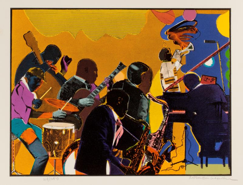 Romare Bearden, Out Chorus, 1979-1980, etching, aquatint, serigraph, sheet 25.75 x 21.25 inches