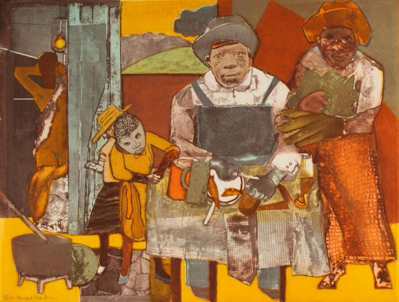 Romare Bearden, The Family, 1975, aquatint, sheet 19.5 x 25.75 inches