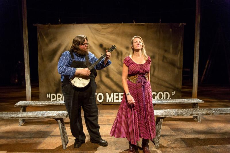 Musicians Riley Baugus and Laurelyn Dossett in the Triad Stage  production Brother Wolf.