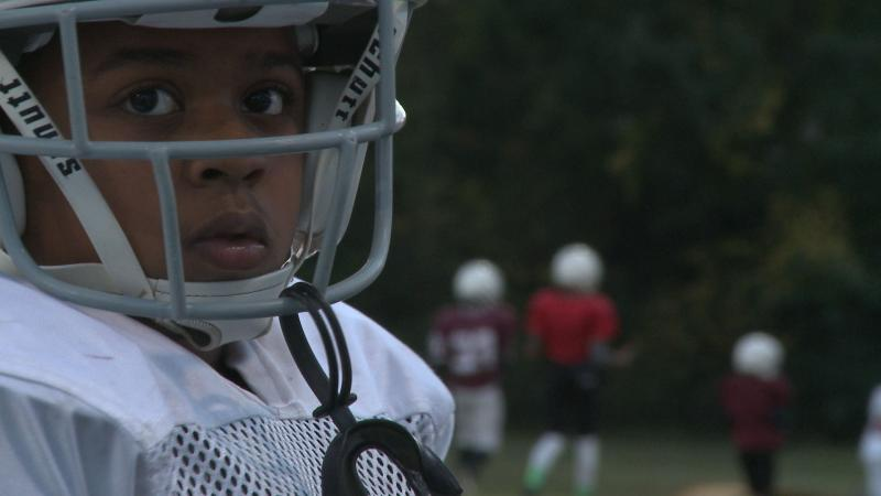 A member of the Pop Warner football league, the Durham Eagles (NC)