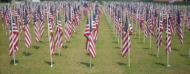 A field of flags outside the Airborne and Special Operations Museum in Fayetteville, NC.