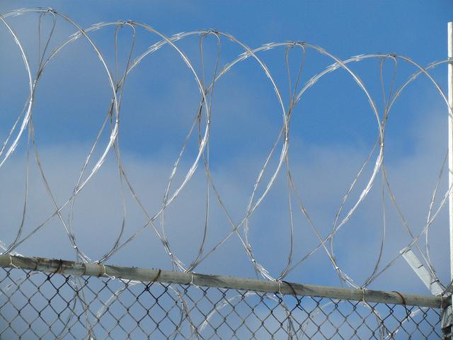 Concertina wire surrounding a prison