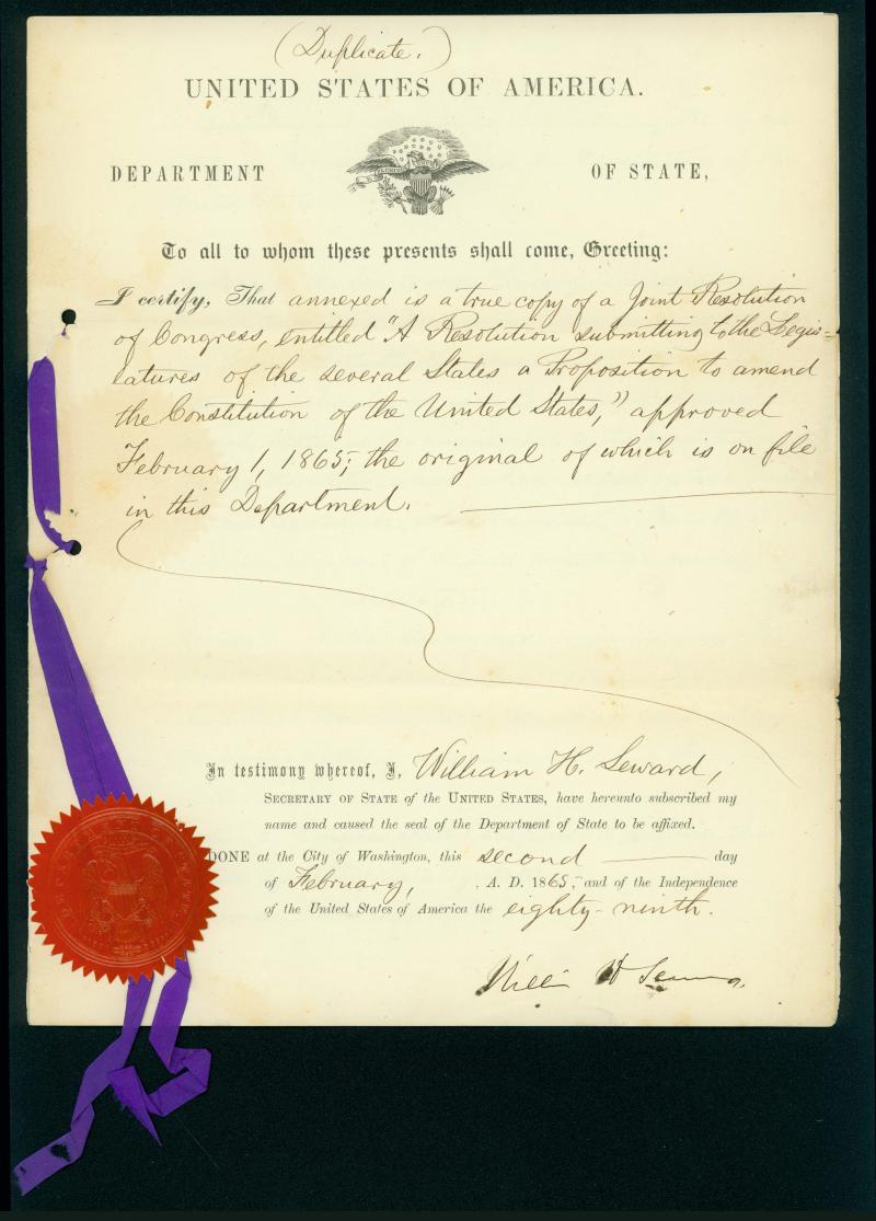 A picture of the 13th Amendment document.
