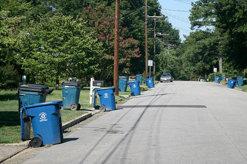 A picture of curbside recycling carts in Durham.