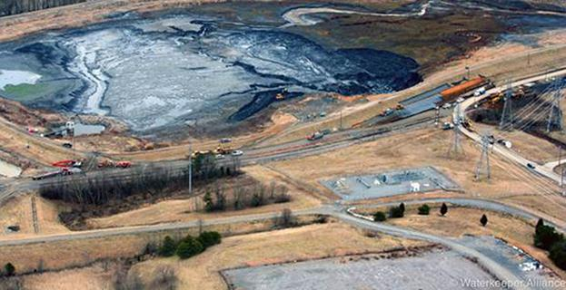 A picture of a coal ash pond.