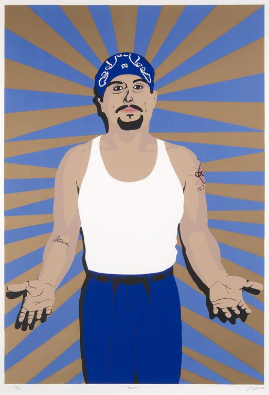 Lawrence Colación, Veterano, 1995, screen print, 37 5/8 x 25 ¾ in.,  Collection of the McNay Art Museum, Gift of Harriett and Ricardo  Romo, 2009.43, © 2013 Lawrence Colación