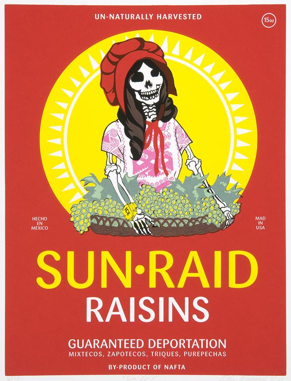 Ester Hernandez, Sun Raid, 2008, screen print, 19 ¾ x 15 in.,  Collection of the McNay Art Museum, Gift of Harriett and Ricardo  Romo, 2009.58, © 2013 Ester Hernandez