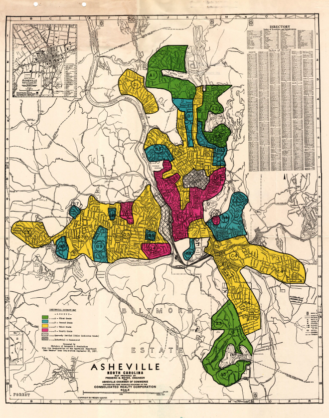 The original Home Owners' Loan Corporation map of Asheville