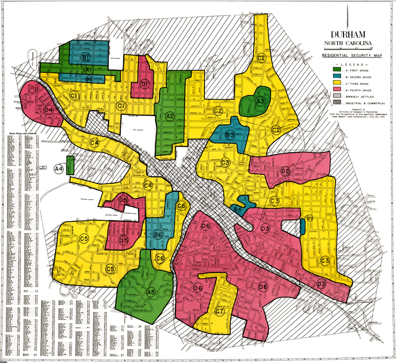 The original Home Owners' Loan Corporation map of Durham, dated July 23, 1937. Red areas were largely African-American communities, and considered to be too risky for new home loans.