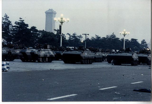 Tanks advance on Tiananmen Square, 1989