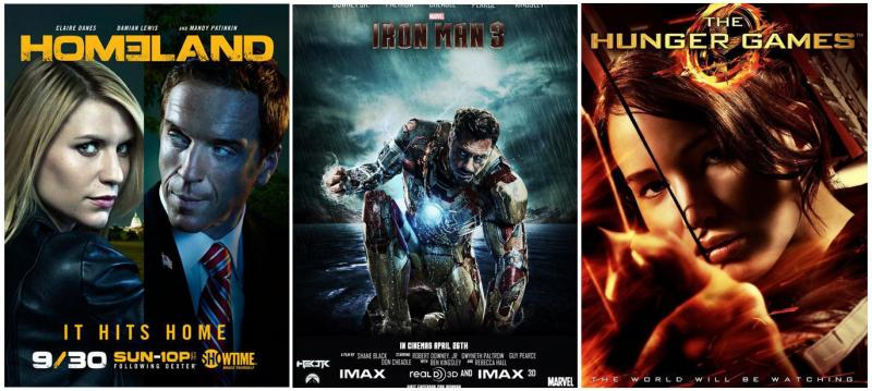Promotional trailers: Homeland, Ironman 3, Hunger Games
