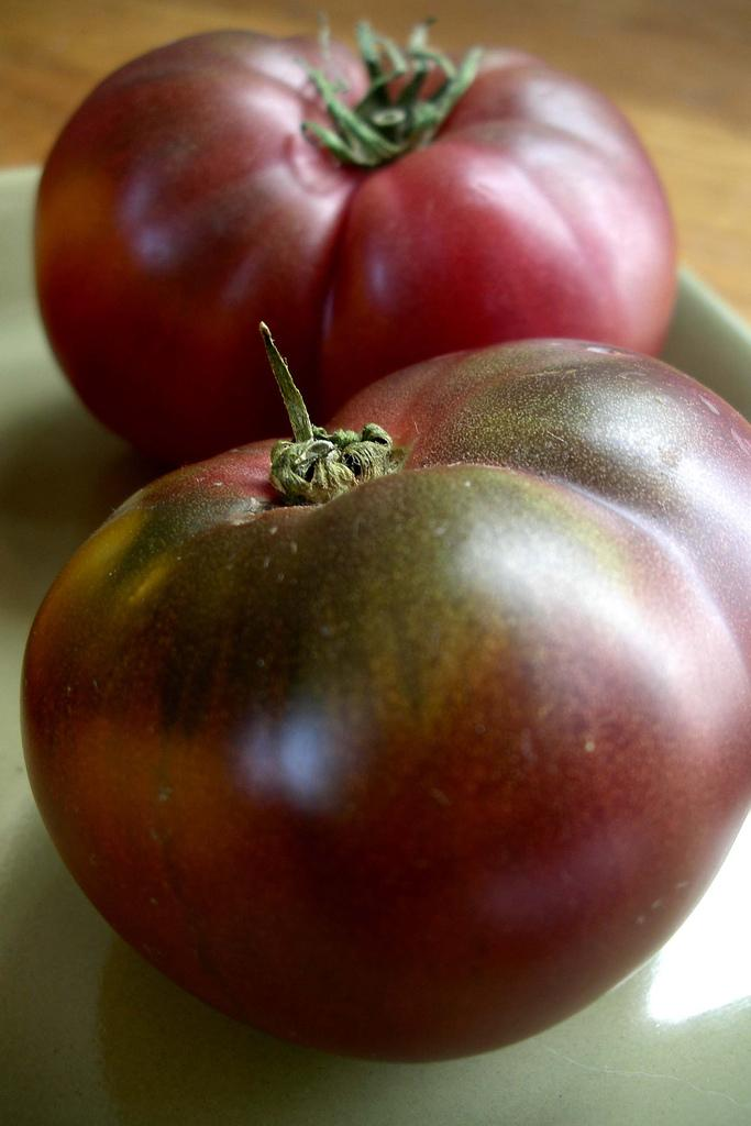 Some Cherokee Purple Tomatoes.