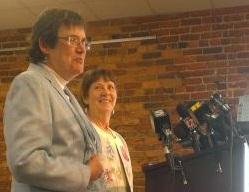 Jane Blackburn and Lyn McCoy speak at an ACLU news conference.