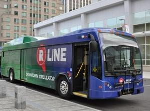 A picture of an R-line bus.