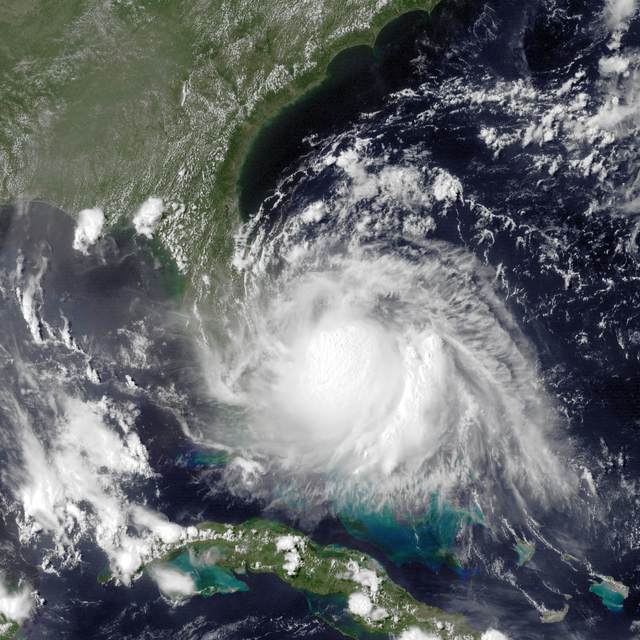 An aerial view of Tropical Storm Arthur.
