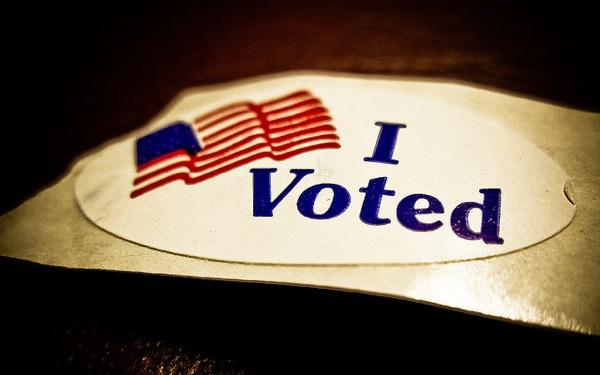 A picture of an 'I Voted' sticker.