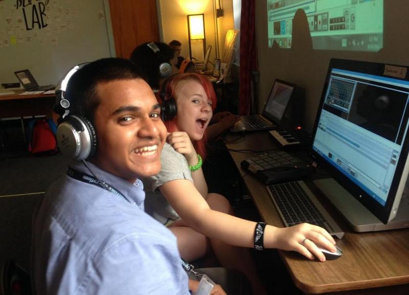 Two of the teen participants in the chapel Hill Beat Making Lab