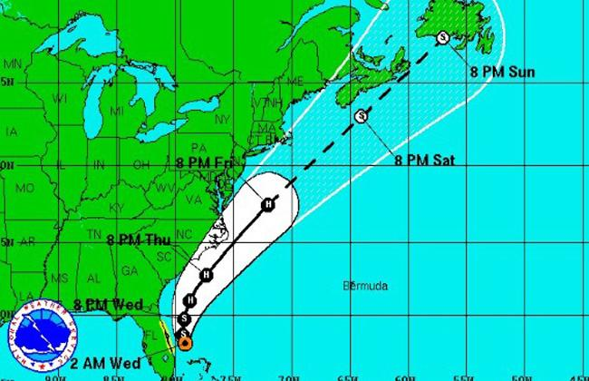 An illustration of Hurricane Arthur's projected path.