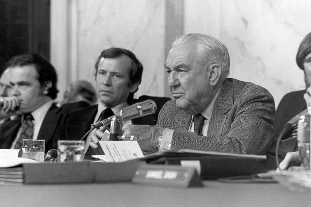 Watergate Committee hearings, 1973: Fred Thompson, Howard Baker, and Sam Ervin