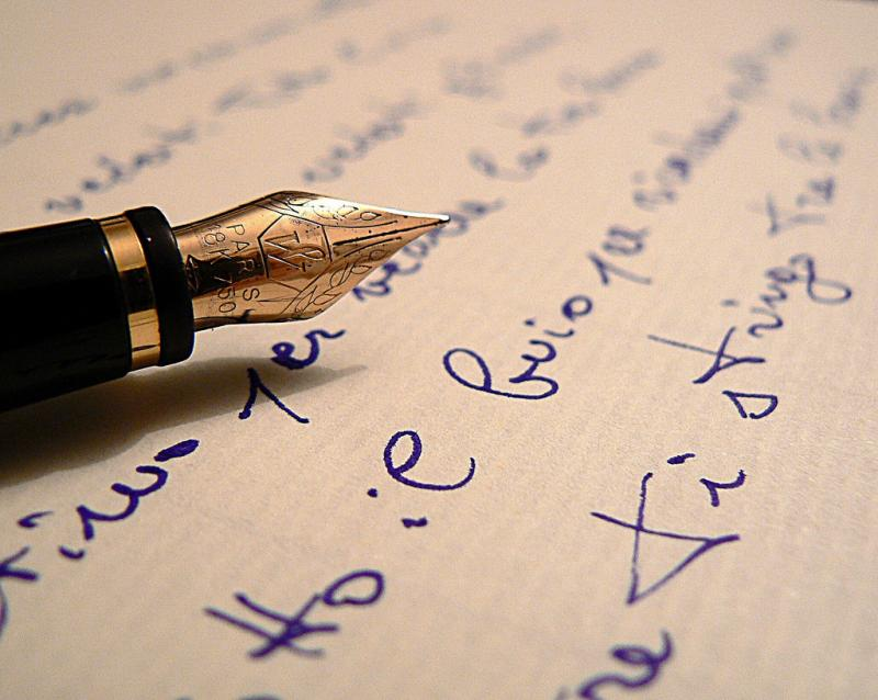 Photo of poetry writing.