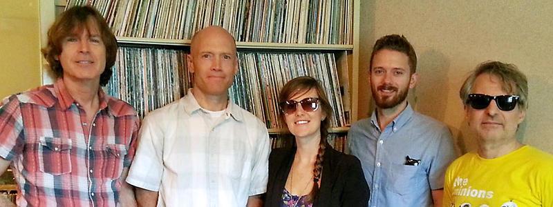 Jody Stephens, host Eric Hodge, Skylar Gudasz, Brett Harris and Chris Stamey in the WUNC Studios