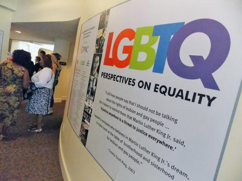 """The entrance to the LGBTQ exhibit - """"LGBTQ Perspectives on Eqaulity"""""""