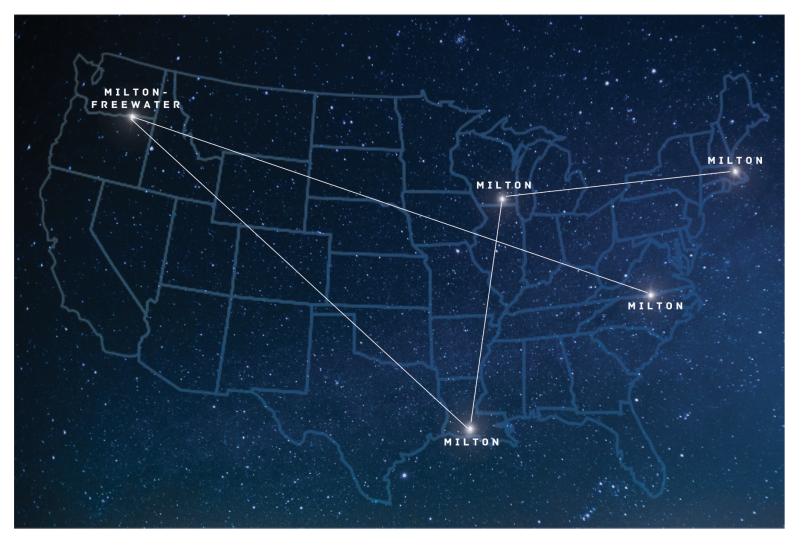 A constellation of Miltons around the country.