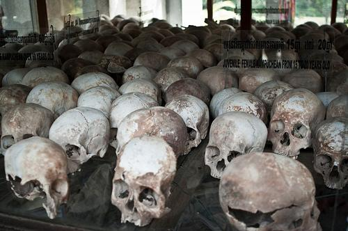 "Skulls at Choeung Ek Memorial, (AKA ""The Killing Fields"") outside of Phnom Penh, Cambodia."