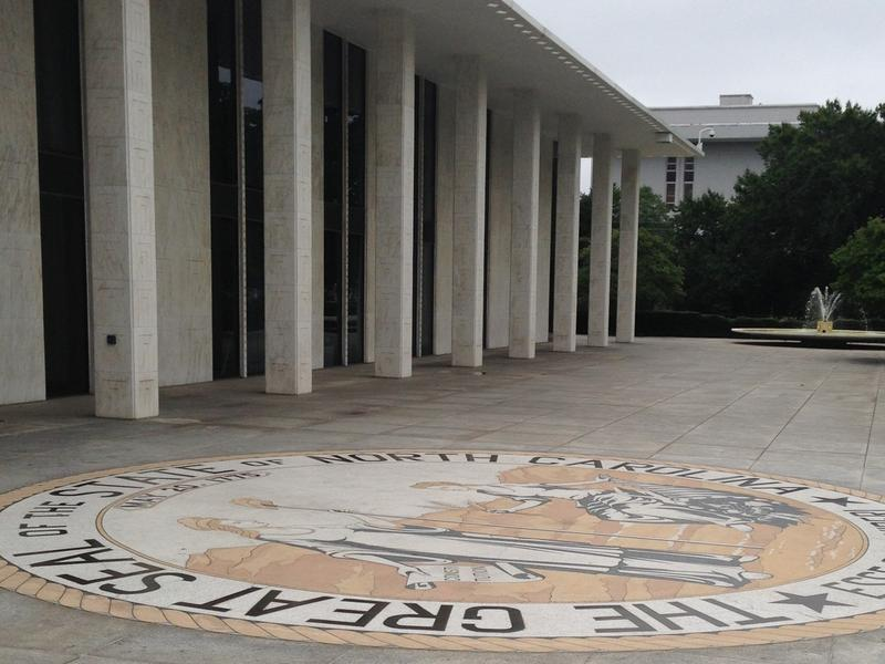 Photo: The North Carolina seal in front of the state legislative building