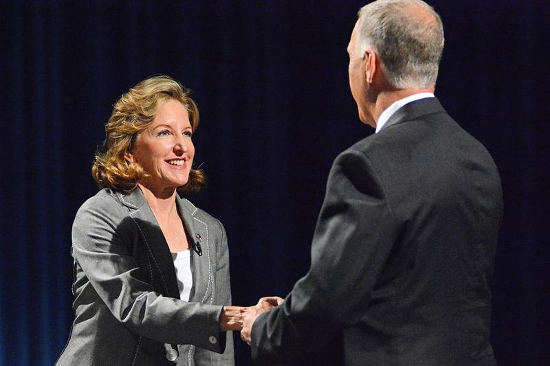 Kay Hagan and Thom Tillis shake hands after the debate at UNC-TV Wednesday night.
