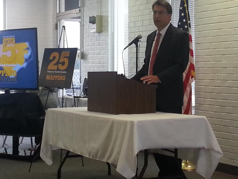 Pat McCrory spoke about his 25-year plan for Transportation at Smith Reynolds Airport in Winston-Salem on Wednesday.