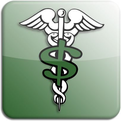 Medicaid illustration: A Caduceus symbol and a dollar sign