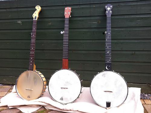 A picture of three banjos.